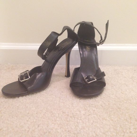 Frederick's of Hollywood Sexy Sandal Size 8.5 Black leather sexy double buckle sandal, 4.5 inch heel Frederick's of Hollywood Shoes Sandals