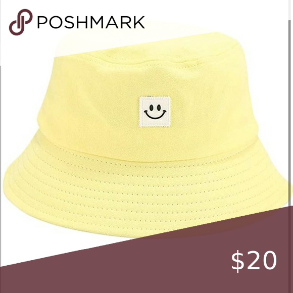 New Yellow Smiley Face Bucket Hat Yellow Smiley Face Urban Outfitters Hats White Beanies