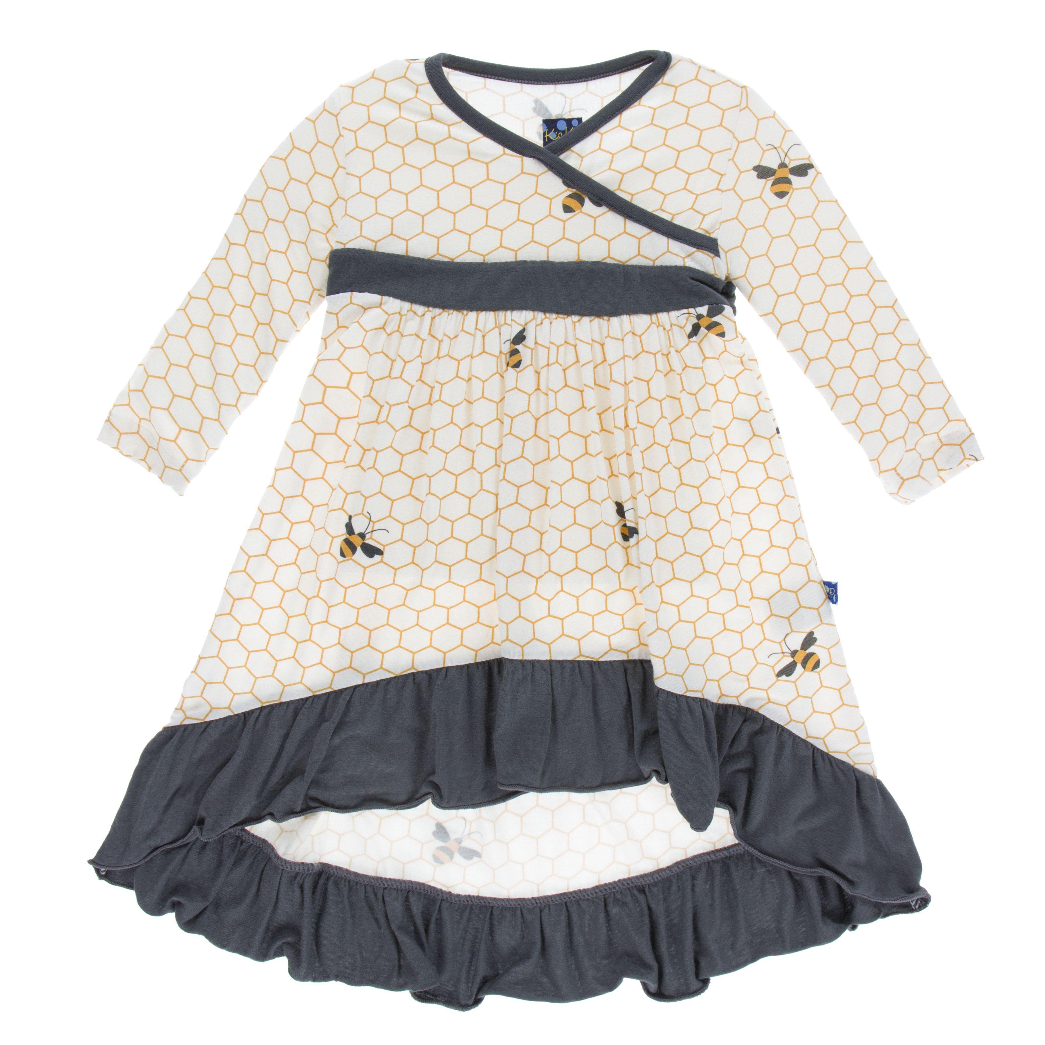 Kickee pants print long sleeve hilo maxi dress natural honeycomb