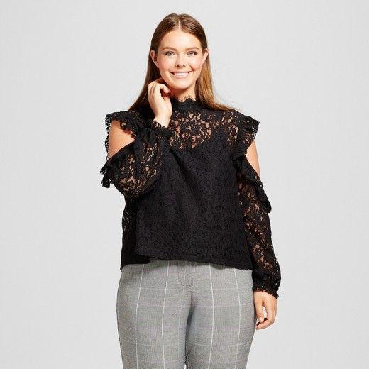 women's plus size lace cold shoulder blouse - who what wear™ black
