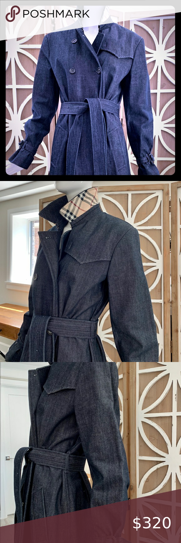 Burberry Denim Trench Coat Up For Sale Is A Burberry Long Denim Trench Coat In Size 8 I Have Used This Item Just Denim Trench Coat Clothes Design Trench Coat