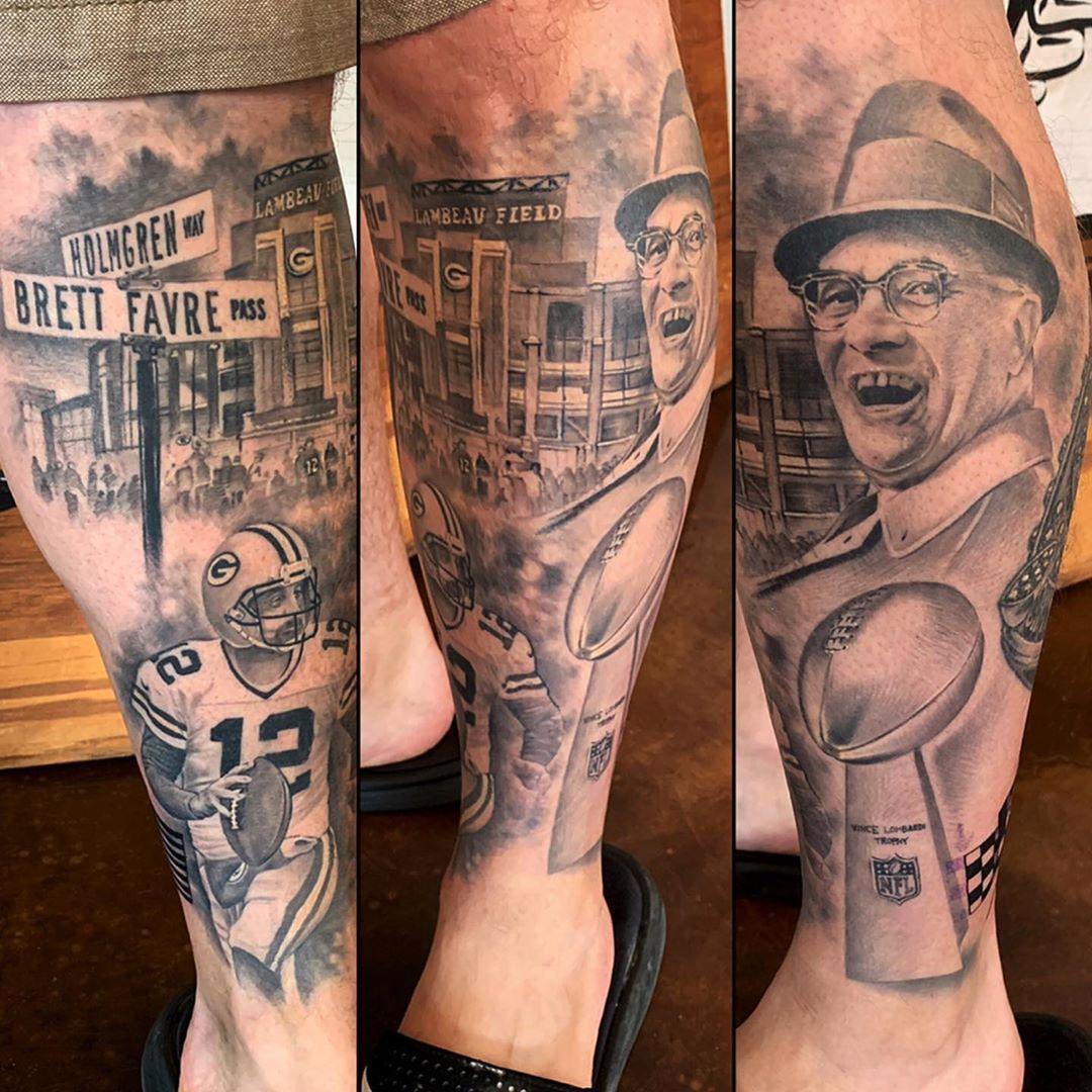 12 Wisconsin Tattoo Company Aaronrodgers Vincelombardi Lombarditrophy Football Footballtattoo Lambeaufield Wisconsin Tattoos Football Tattoo Tattoos