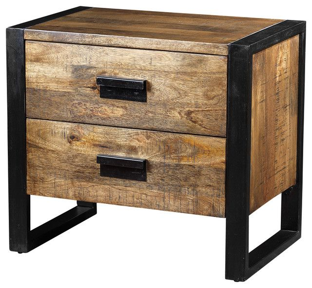 Industrial Rustic 2 Drawer Bedside Or Side Table Gorgeous Solid