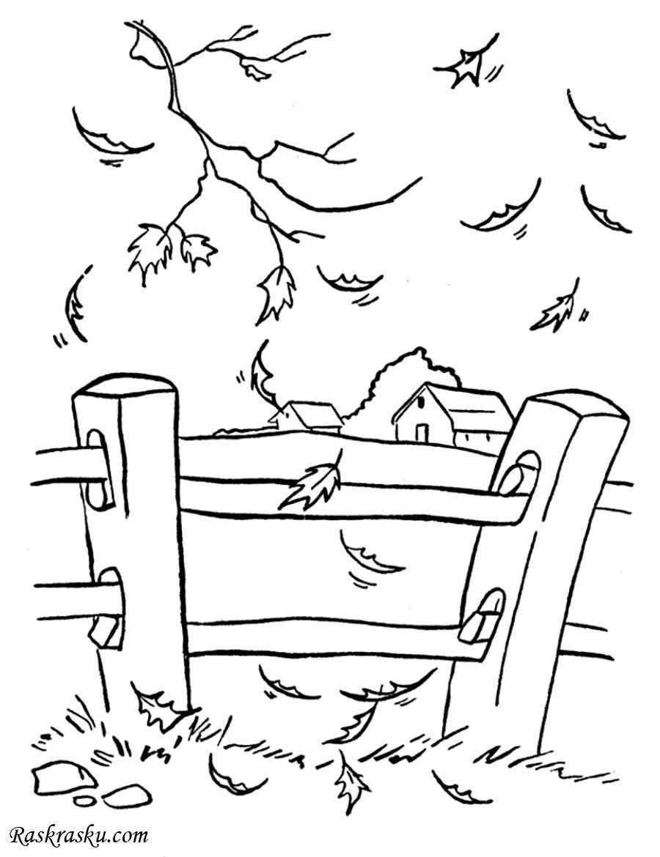 Раскраска Осень в деревне скачать и распечатать бесплатно ...