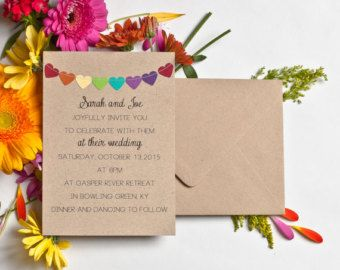 Rustic Wedding Invitation Set Bunting Flags and by NotedOccasions
