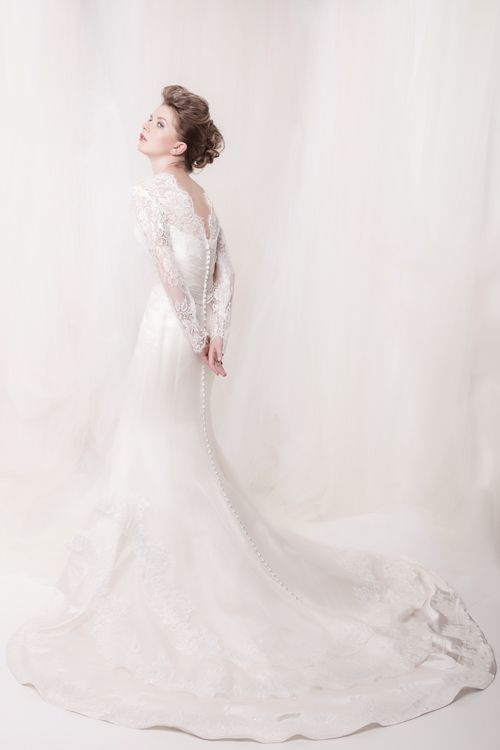 """""""Dallas"""" wedding dress - long sleeves lace and silk bridal gown with floral embellishments #bridalfashion #juleechic"""