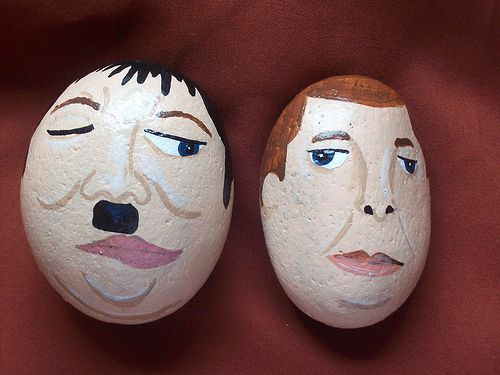 Laurel and Hardy hand painted rocks by Tory RoJo, via Flickr