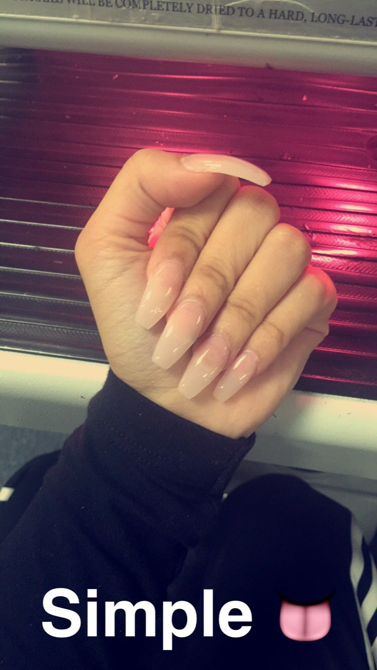 Simple Nude Clear along Coffin Shape Acrylic Nails | My ...