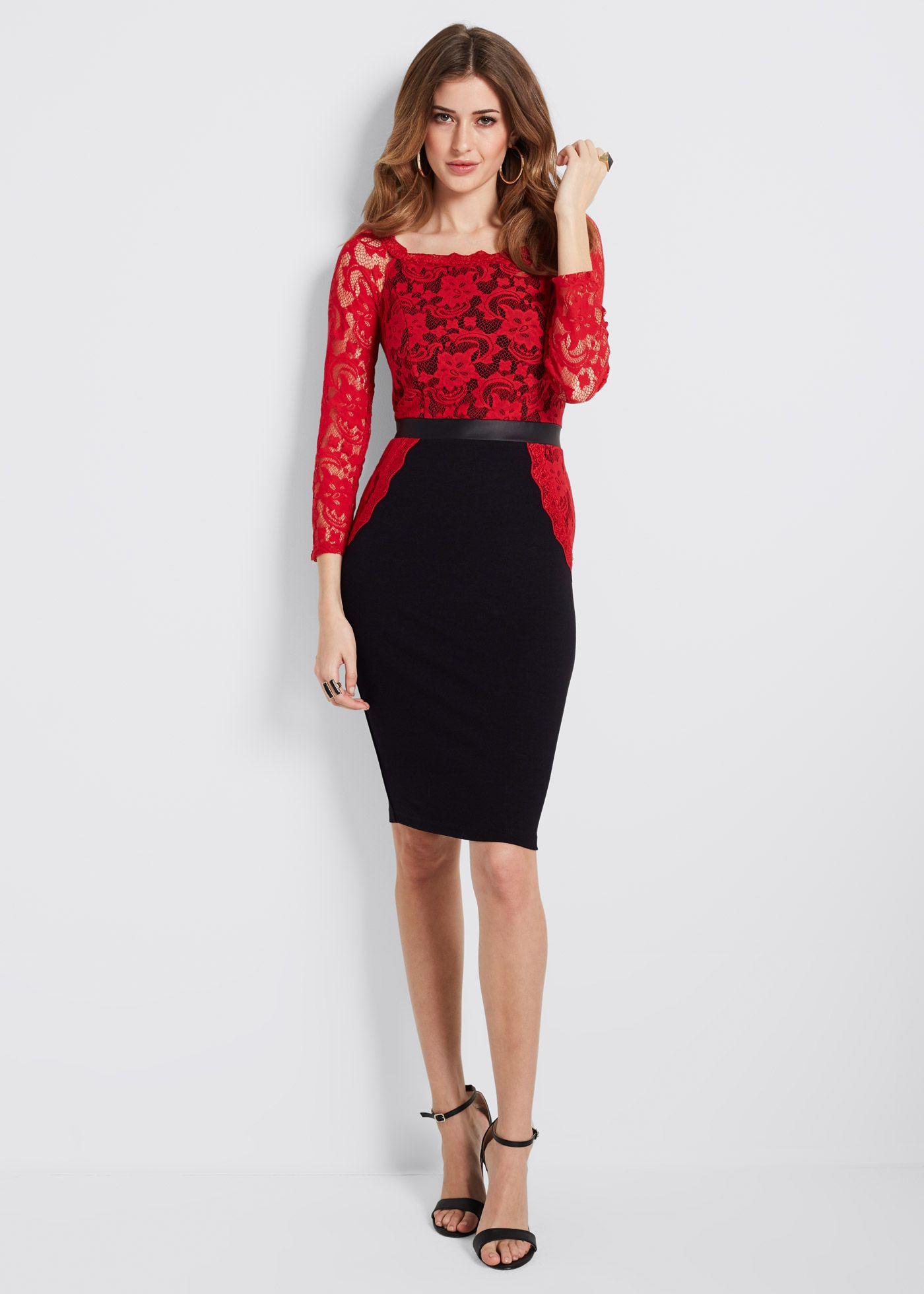 Kleid Kleid schwarz/rot jetzt im Online Shop von bonprix.de ab