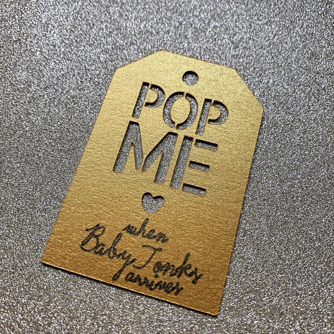 Littletwinkletoes On Instagram Bespoke Baby Shower Tags On Super Gold Card Stock With Black And Gold Glitter Pen Baby Shower Tags Glitter Pens Card Stock