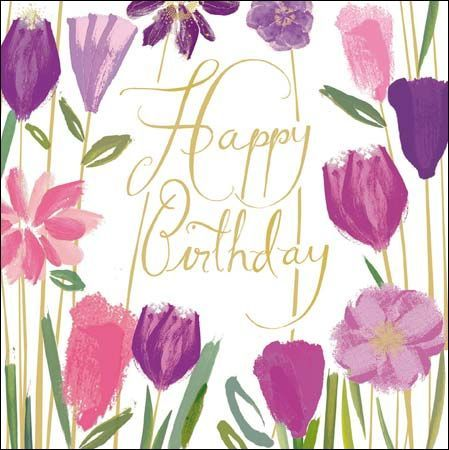 A Beautiful Female Birthday Card With A Stunning Purple And Pink