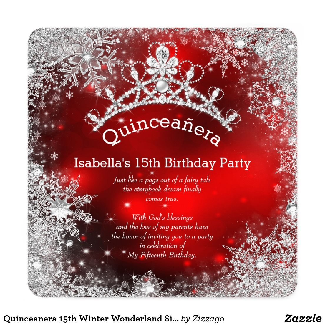 Quinceanera 15th Winter Wonderland Silver Red Card | quince ideas ...