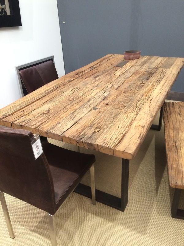 Details zu Esstisch Tisch Thar 200x100cm Altholz Massiv Industrie ...