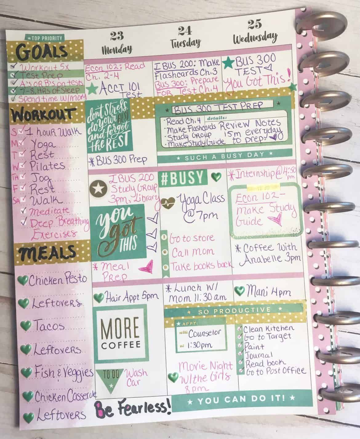 These Planner Layout Ideas For College School Are So Cute Now I Have Some Planner Ideas For Organizing All My Creative Planner College Planner Happy Planner
