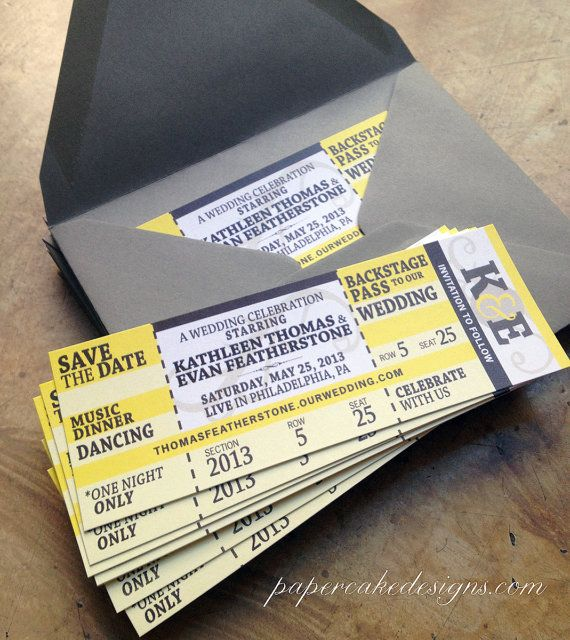 Concert Ticket Wedding Invite Too cute Not that I am But - concert ticket invitations