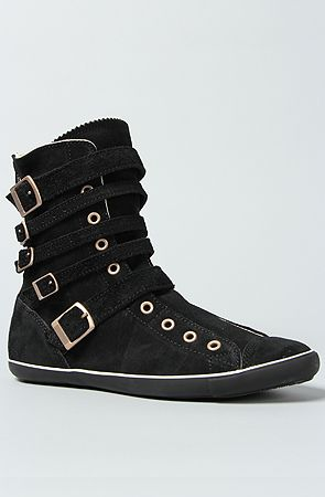 Light Multi Strap Boot in Black Suede