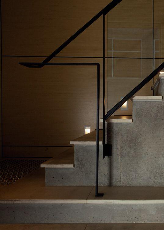 Modern Concrete Stairway Wood Treads Black Metal Railing | Steel Handrails For Concrete Steps