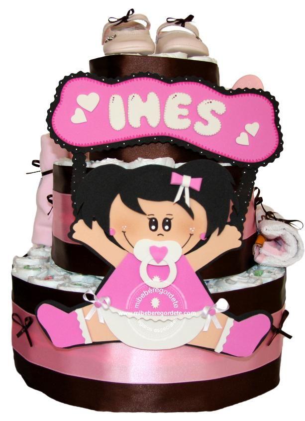Regalos Originales Para Recien Nacidos Hechos A Mano.Regalo Personalizado Bebes Tarta De Panales Para Ines