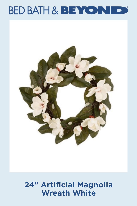 "Photo of 24 ""Artificial Magnolia Wreath White"