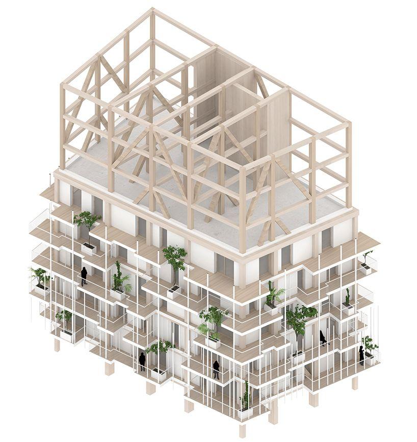 sou fujimoto + laisné roussel propose vegetated towers