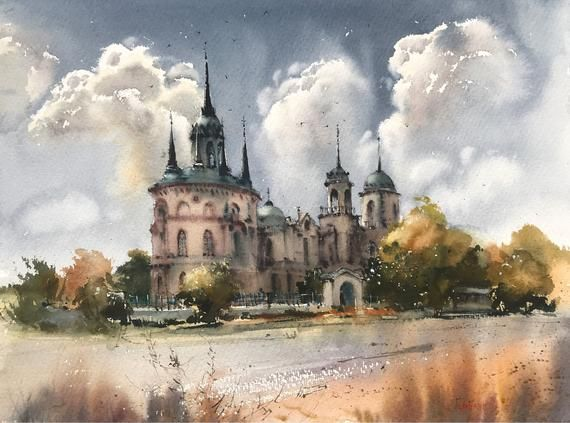 Original Painting - Gothic church (Bykovo), Russia - Watercolour, artwork, wall decor, aquarelle, Living room, gift, landscape #churchitems