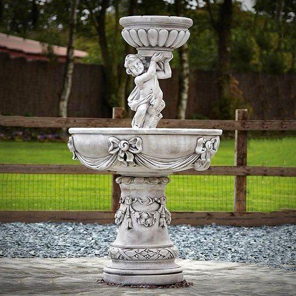 Large 2 Tier Cherub Water Fountain