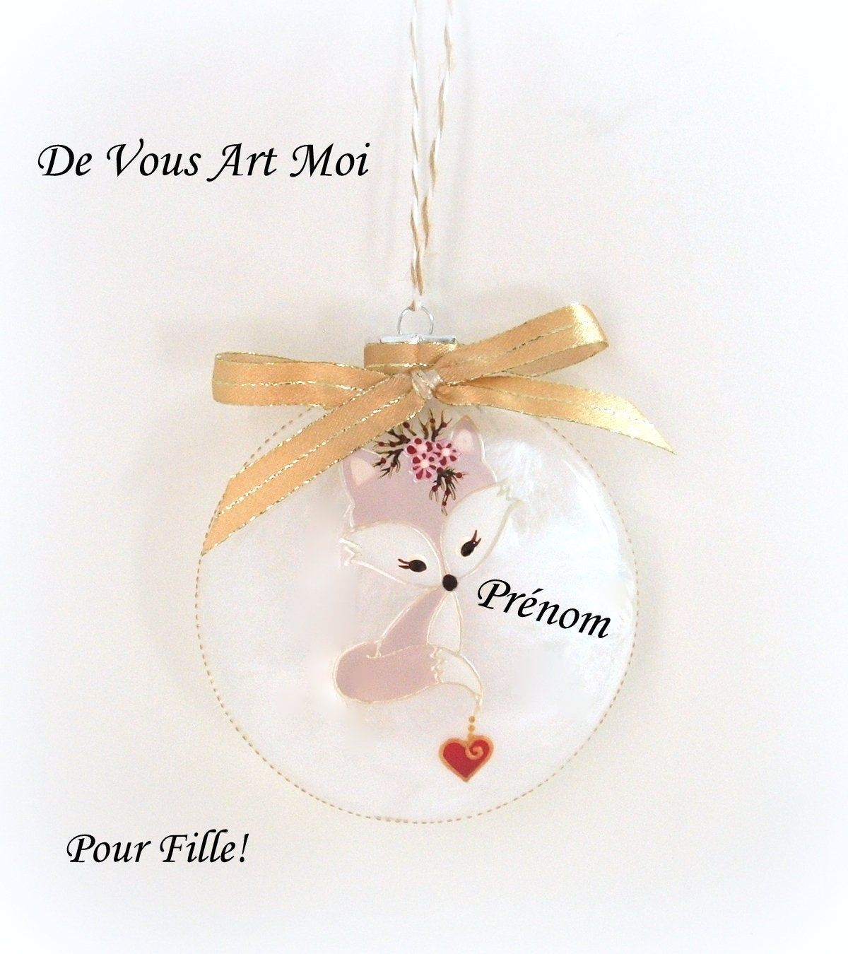 Boule de noël personnalisée,boule renard de Noël,fait main,10cm,artisanale