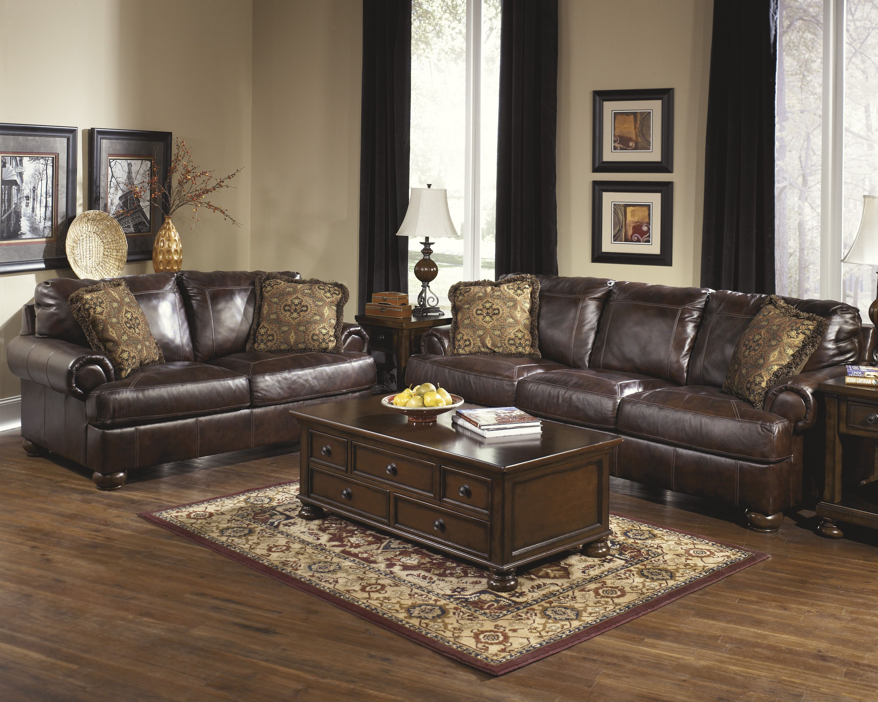 ashley axiom walnut genuine leather sofa and love seat