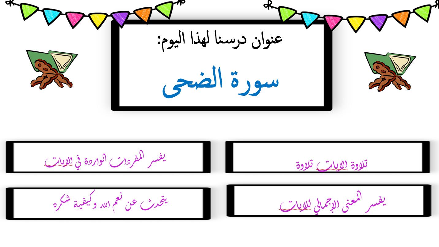 بوربوينت درس سورة الضحى للصف الثالث مادة التربية الاسلامية Islamic Posters Poster