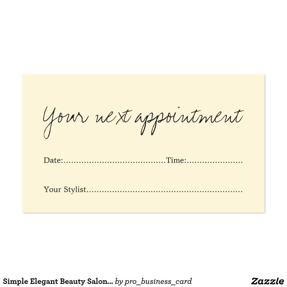 Simple Elegant Beauty Salon Appointment Card | Business cards
