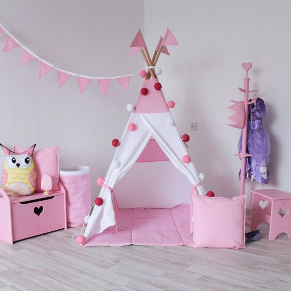 Pink teepee with poles Pink and white PlayHouse for kids Play tent Tepee tent for kids Indoor wigwam Pink tipi & READY TO SHIP! Pink teepee with poles Pink and white PlayHouse for ...