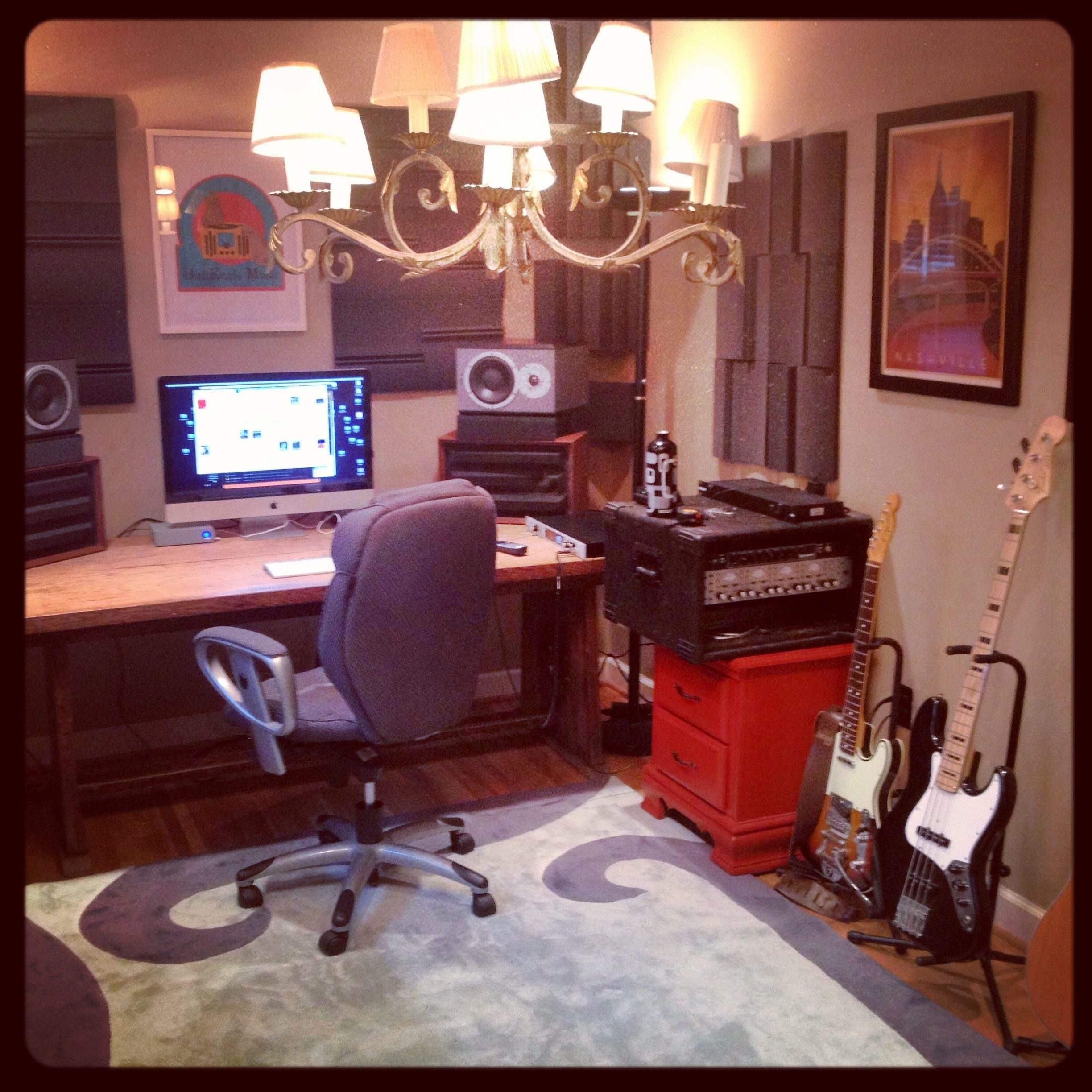 home recording studio, auralex acoustic treatment, universal audio
