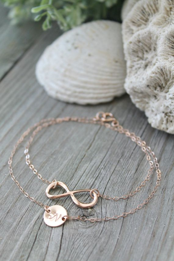 14kt Rose gold filled Wrap Bracelet, layered sideway Infinity and personalized initial disc ...