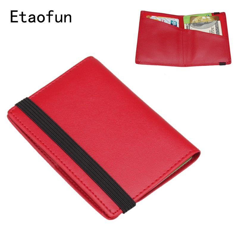 Etaofun brand red genuine leather cards holder wallets women\'s ...
