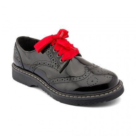 Impulsive Black Patent Girls Lace Up Casual Shoes School Shoes