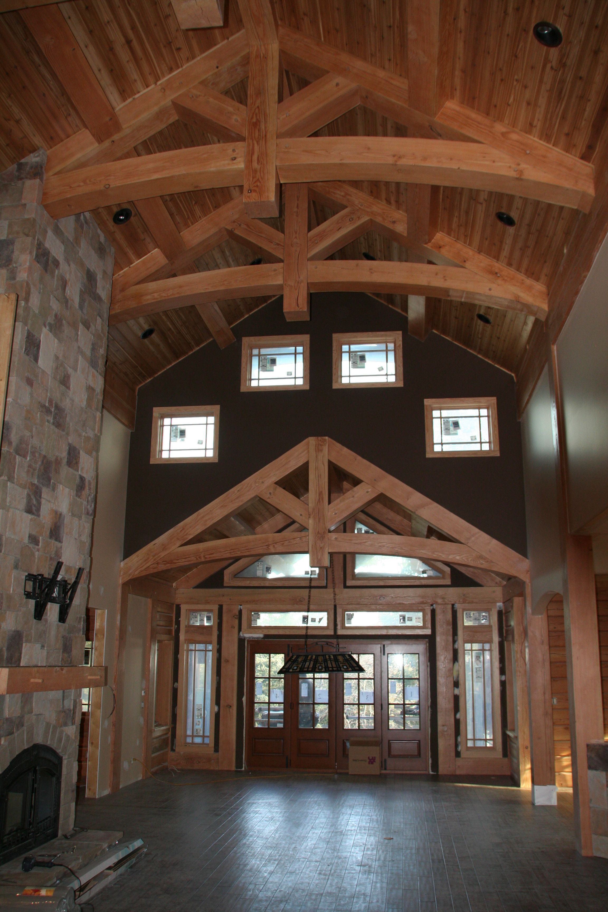 Wood River Log Home Plan by PrecisionCraft - Great Room ...