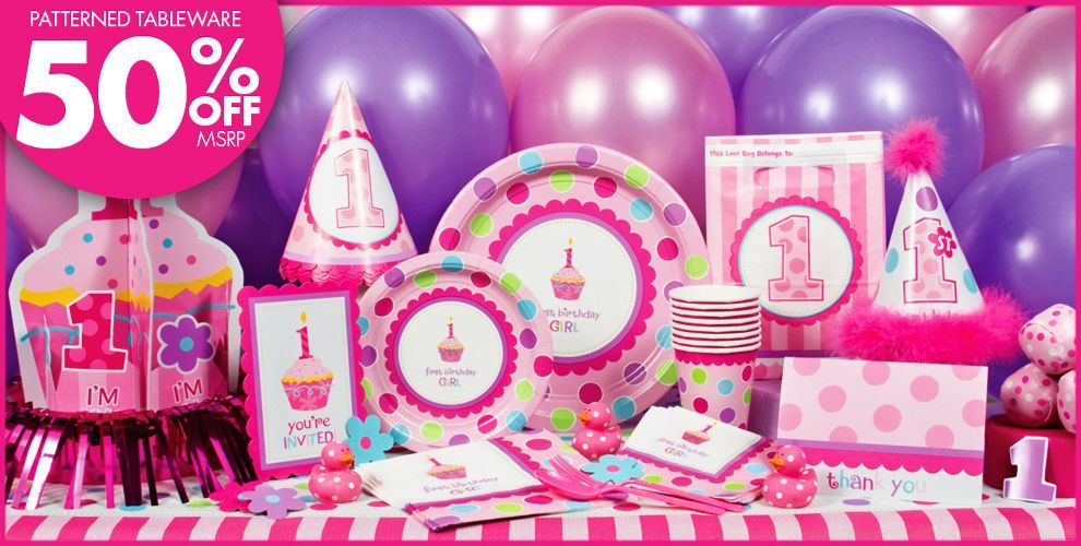Sweet Cupcake Girls 1st Birthday Party Supplies