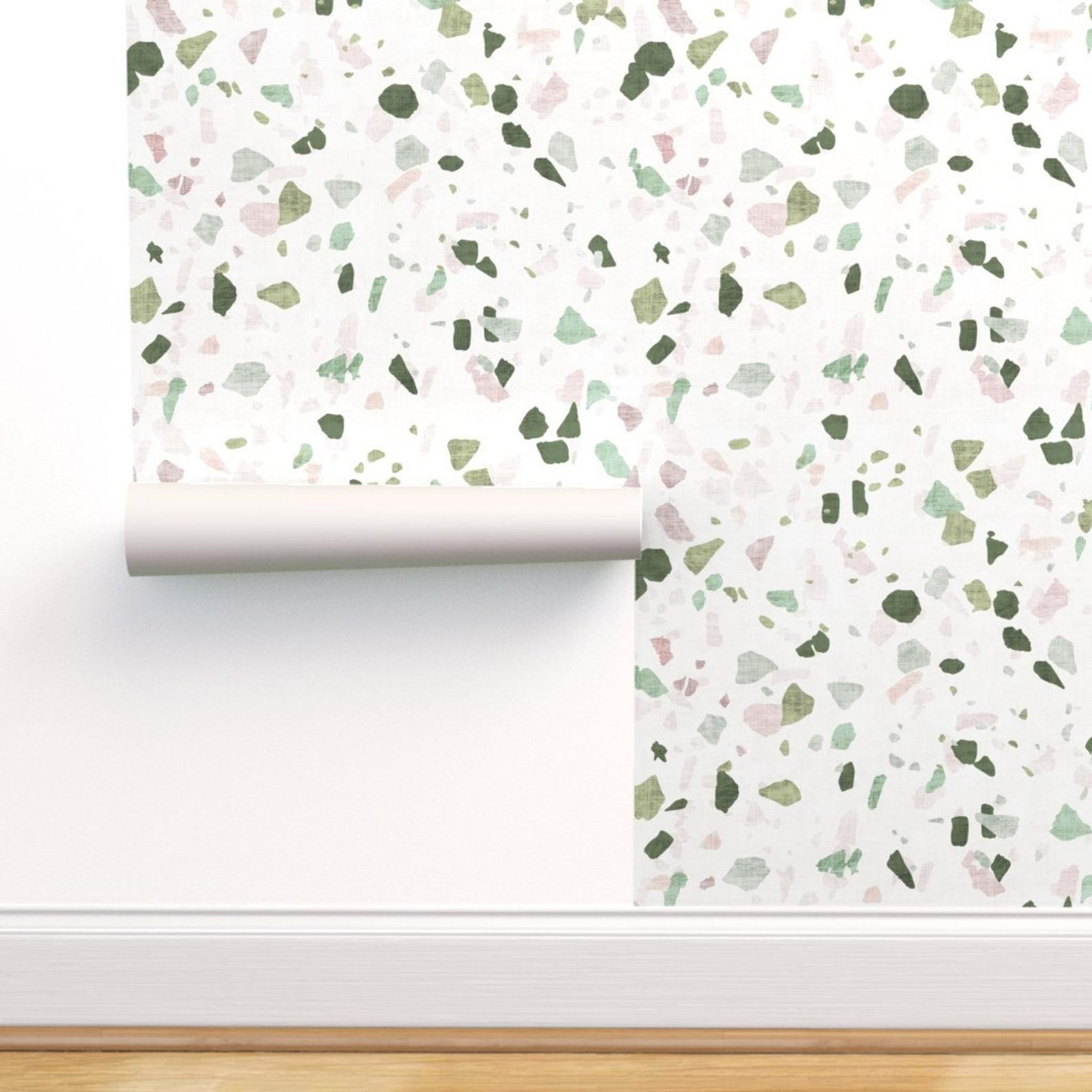 Terrazzo Wallpaper Petra Terrazzo By Holli Zollinger Green Terrazzo Custom Printed Removable Self Adhesive Wallpaper Roll By Spoonflower Stick On Wallpaper Peel And Stick Wallpaper Removable Wallpaper