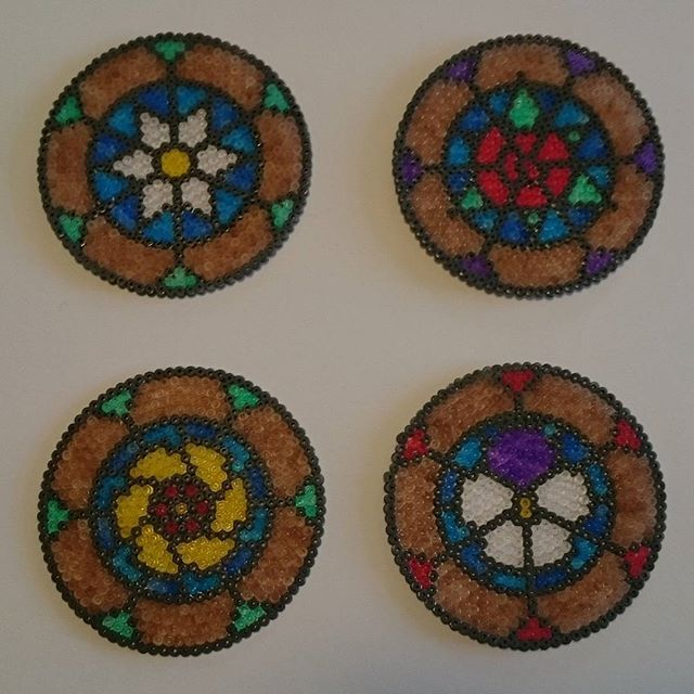 Stained glass flower coaster set hama beads by cherry_bits