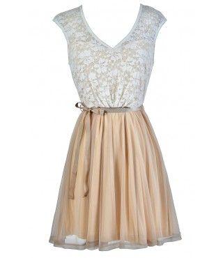 Beige Lace Dress, Cute Beige Dress, Beige Lace A-Line Dress, Beige Lace Party Dress, Beige Lace Summer Dress, Cute Sundress, Beige Sundress, Beige and Ivory Lace Dress