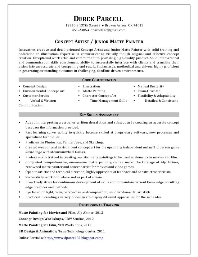 Painter Resume Samples Concept Artist Junior Matte House Job
