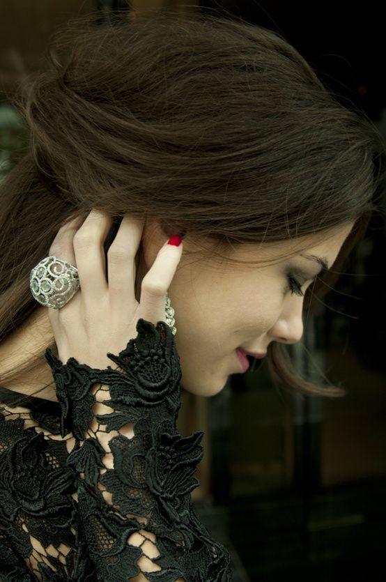 Black lace, gorgeous hair colour, great cocktail ring ~ Colette Le Mason @}-,-;---