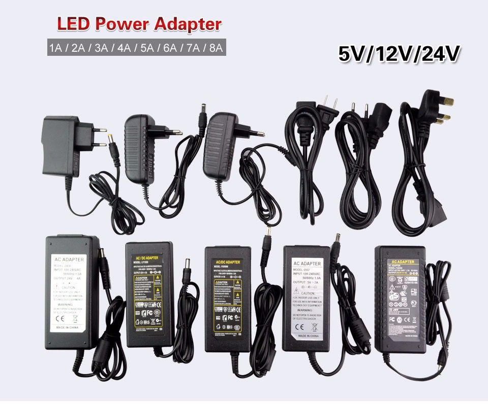 Led Power Supply 5v 12v 24v 2a 3a 5a 7a 8a 10a For 5v 12v 24v Led Strip Light Free Shipping