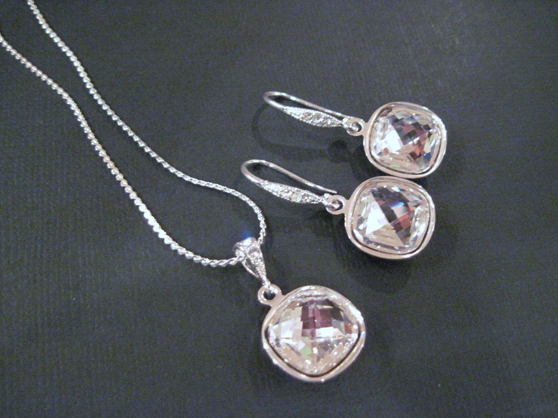Clear Swarovski Crystal Bridesmaid Jewelry Set Bling Earings