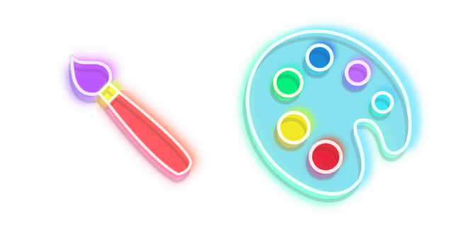 Colourful Brush And Palette Neon Neon Palette Chrome Web
