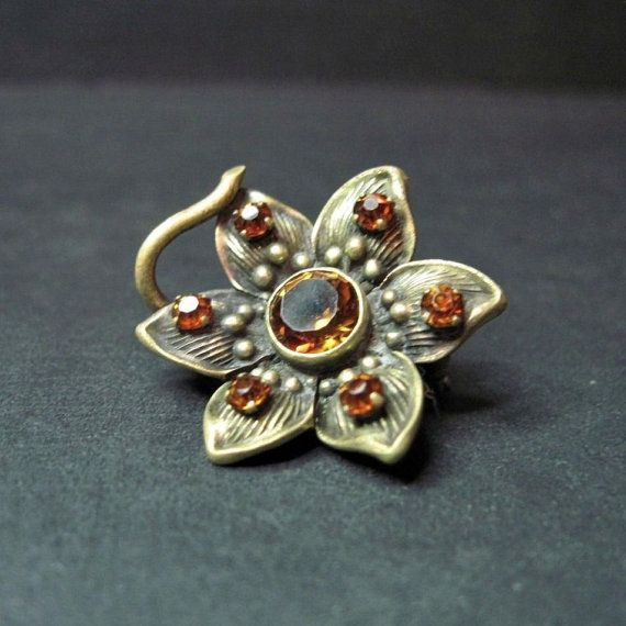 Antique Art Nouveau Flower Brooch - Pin - Golden Citrine - Antique Jewelry - C1900 - Dainty - Small on Etsy, $109.00