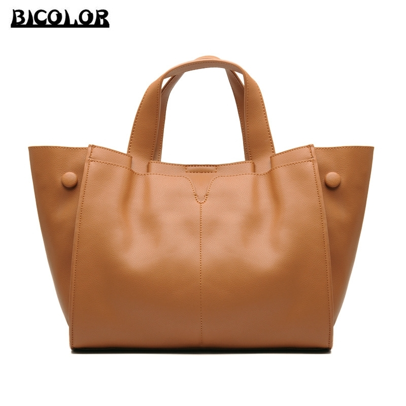 86.43$  Watch now - http://alipnv.worldwells.pw/go.php?t=32755394173 - BICOLOR New Fashion 100% Real Genuine Leather OL Style Women Handbag luxury handbags women bags designer cow leather Tote Bag 86.43$
