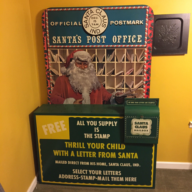 Antique Santa Claus Indiana mailbox station Santa claus