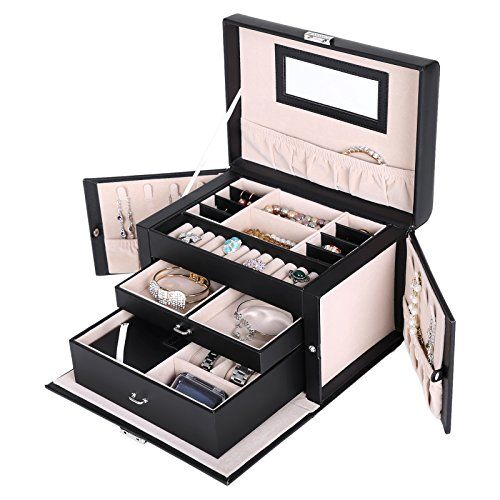 Gentil Songmics Black Leather Jewelry Box Watch Storage Organizer W/ Lock Mirror  And Mini Travel Case UJBC121B SONGMICS  Http://www.amazon.com/dp/B00NJBMIZW/refu003d ...