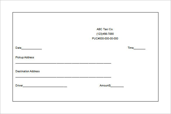 Blank Taxi Receipt Template 4 Templates Example Templates Example Receipt Template Invoice Template Word Invoice Template